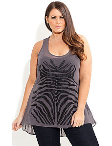 Beaded Zebra Top by City Chic