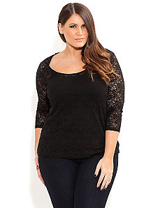 Lace Basic Top by City Chic