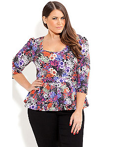 Flower Passion Peplum Top by City Chic