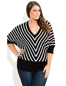 Mono Stripe Jumper by City Chic