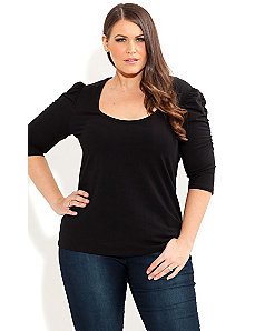 Basic Puff Sleeve Top by City Chic