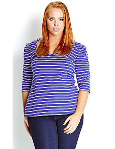 Stripe Puff Sleeve Top by City Chic