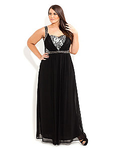 Lace Trimmed Love Maxi Dress by City Chic