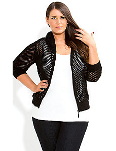 Black Hoodie Cardi by City Chic