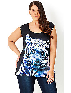 Wild Cat Graffiti Top by City Chic