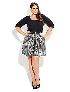 Zip Front Stripe Skirt by City Chic