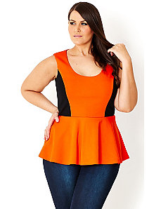 Spliced Peplum Top by City Chic