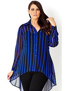 Blue Stripe Shirt by City Chic