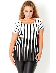 Mono Stripe Top by City Chic
