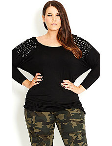 Batwing Stud Top by City Chic
