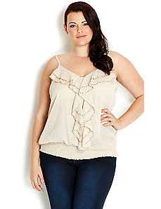 Strappy Beaded Top by City Chic