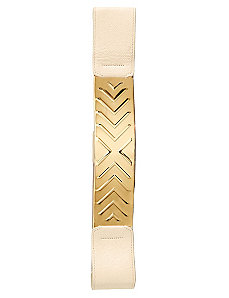 Embossed Metal Plate Belt by City Chic