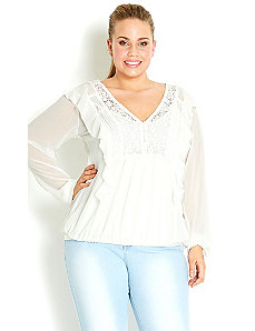 Lace Trim Ruffle Top by City Chic