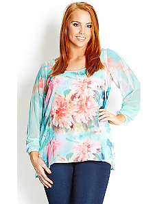 Soft Watercolour Top by City Chic