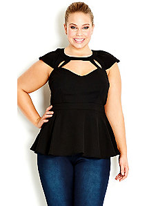 Flutter Peplum Top by City Chic