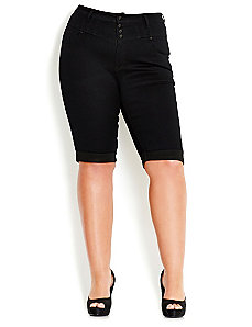 Super Hi Waist Knee Length Short by City Chic