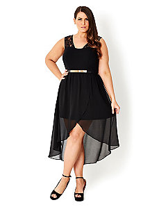 Lace Trim Overlay Dress by City Chic
