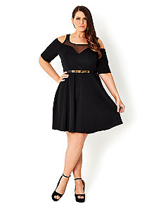 Cold Shoulder Swing Dress by City Chic