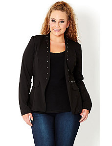 Collarless Stud Jacket by City Chic