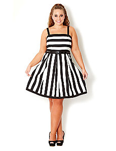 Wide Stripe Dress by City Chic