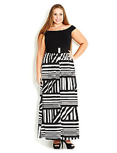 Off Shoulder Monotone Maxi Dress by City Chic