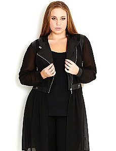 Contrast Biker Jacket by City Chic