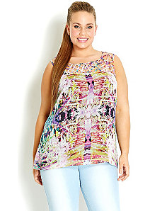 Printed Cross Hatch Neck Top by City Chic