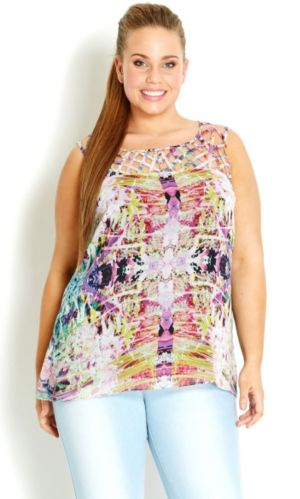 Printed Cross Hatch Neck Top