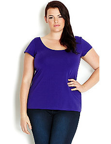 Colored Scoop Cap Sleeve Top by City Chic