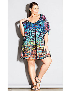 Rainbow Tiger Kaftan by City Chic