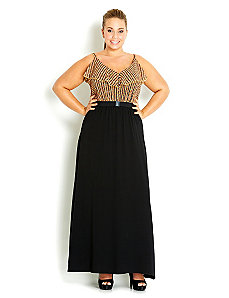 Oriental Frill Maxi Dress by City Chic