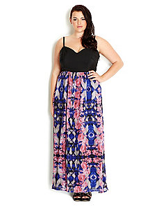Ikat Rose Maxi Dress by City Chic