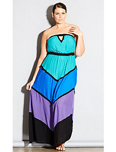 Color Block Beach Maxi Dress by City Chic