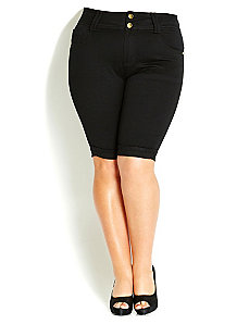 Apple TDF Shorts - Black by City Chic