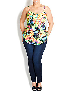 Rose Print Strappy Top by City Chic