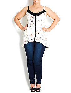 Dove Print Strappy Contrast Top by City Chic