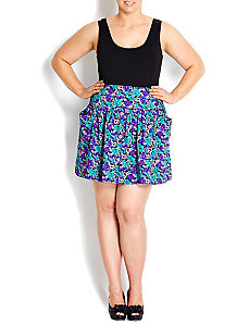 Blue Floral Flippy Skirt by City Chic
