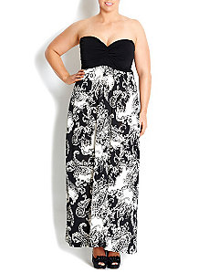 Black & White Tropical Dream Maxi Dress by City Chic