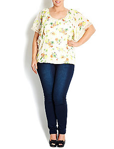 Citrus Floral Flutter Sleeve Top by City Chic