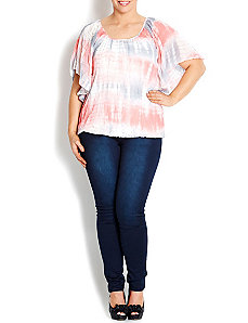 Tie Dye Flutter Sleeve Top by City Chic