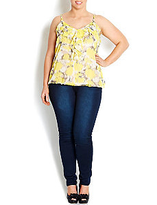 Citrus Frill Front Top by City Chic