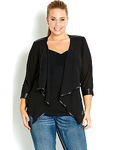 3/4 Sleeve Sexy Drape Jacket by City Chic