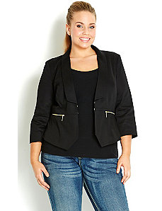 3/4 Sleeve Zip Trim Jacket by City Chic
