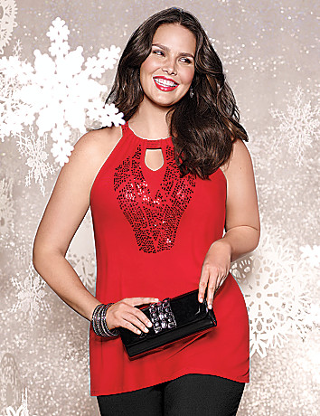 Sequin embellished halter top by Lane Bryant