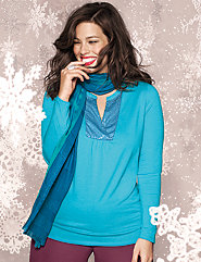 Plus Size Sequin Henley Top by Lane Bryant