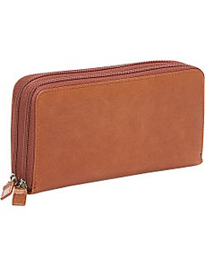 Distressed Leather Double Zip Around Wallet by Budd Leather