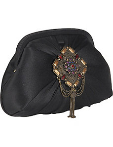 Madrid Silk Clutch With Jewelled Brooch by Inge Christopher