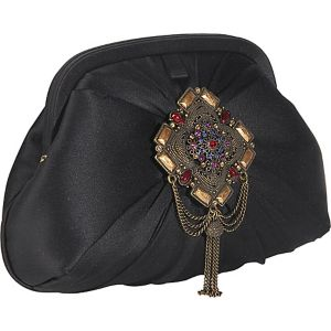 Madrid Silk Clutch With Jewelled Brooch