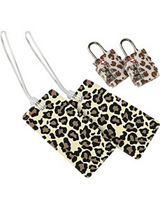 Set of 2 Leopard Locks and 2 Leopard Tags by Belle Hop