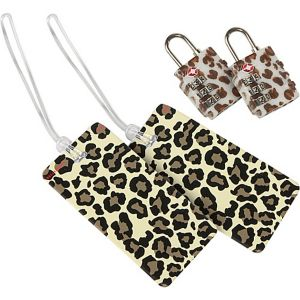 Set of 2 Leopard Locks and 2 Leopard Tags
